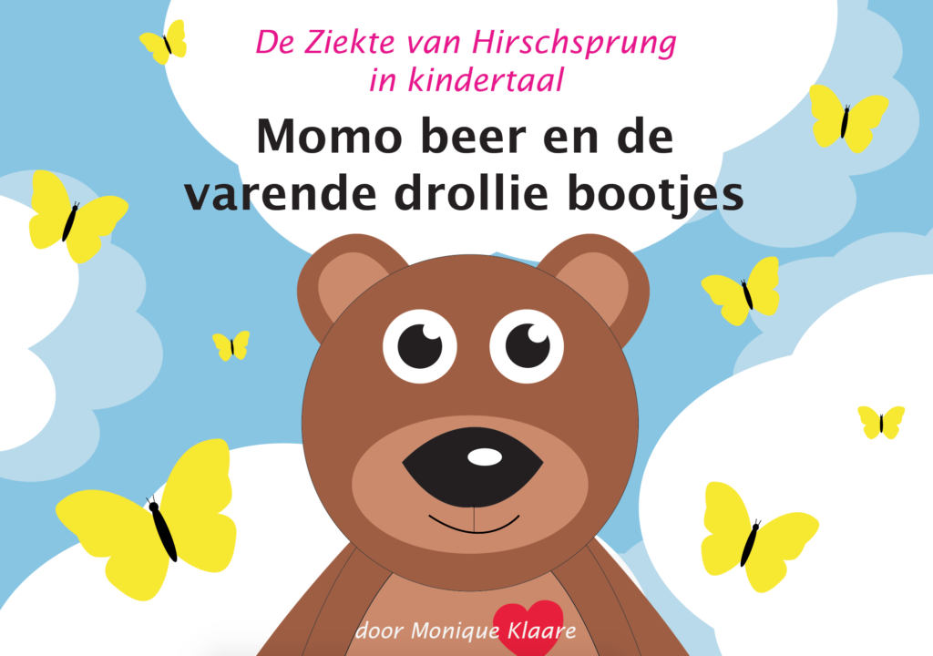 Voorkant boek 2 over darmspoelen Monique Klaare Momo beer De Ziekte van Hirschsprung